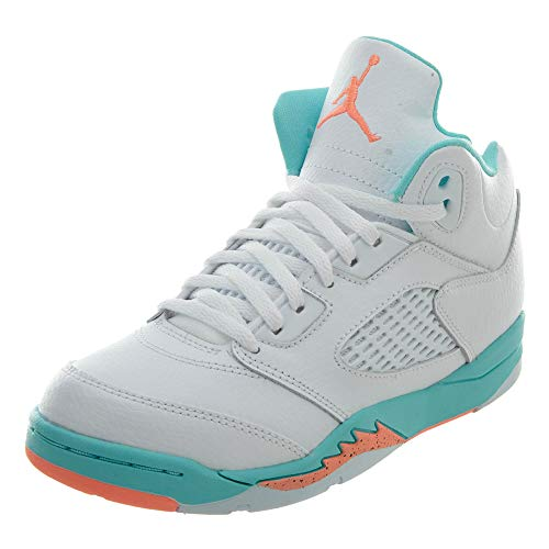Jordan Nike 5 Retro Kids GP White/Crimson Pulse-Light Aqua 440893-100 (Size: 13C) (Jordans Baby Shoes Girls)
