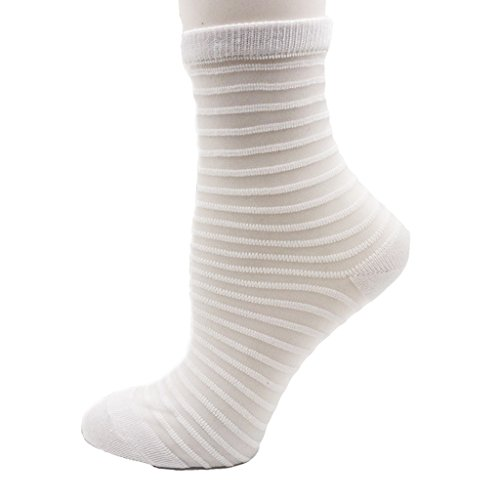 (Diona J 1 pair Women Lace Ruffle Frill Sheer Transparent Silk Elastic Mesh Ankle Socks (Grey White))