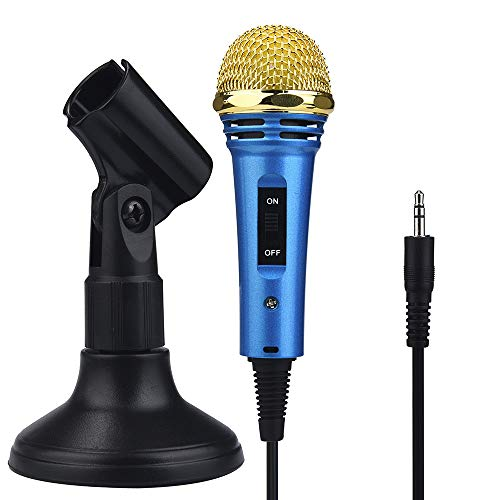 Dreamyth Mini Karaoke Condenser Microphone with Holder for Phone Computer Mini Microphone Affordable (Blue)