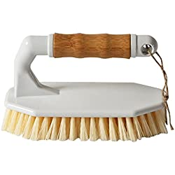 HUIBOT Bamboo Scrubber Brush Heavy Duty Non-Slip Handle All-Purpose for Floor Tub Tile