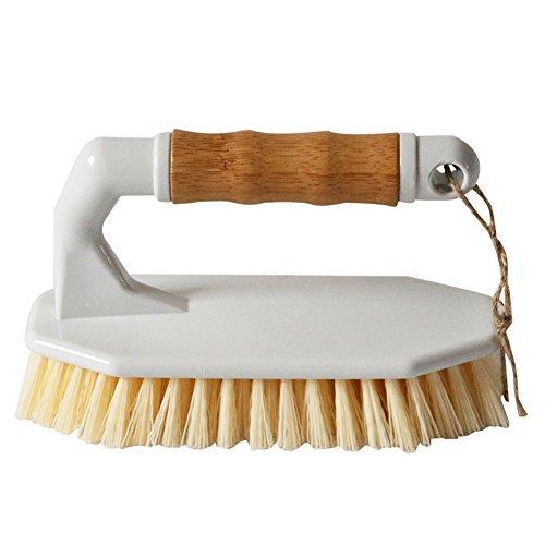 HUIBOT Bamboo Scrubber Brush Heavy Duty Non-Slip Handle All-Purpose for Floor Tub Tile