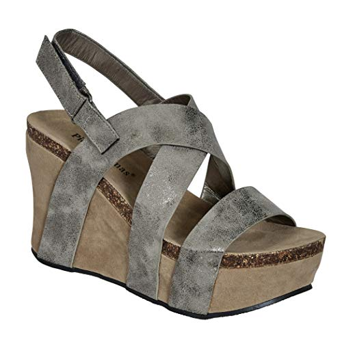 Pierre Dumas Women's Hester-5 Vegan Leather Strappy Wedge Sandals,Pewter,8.5