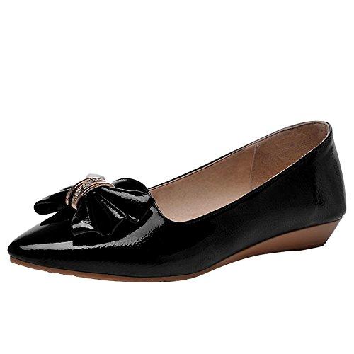 Mee Shoes Damen bequem flach Schleife Pumps Schwarz