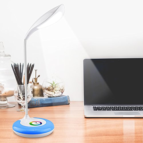 LED Desk Lamp,Desk Light Color Light Led Desk Reading Lights Led Table Lamps for Home Office With Wireless Touch Control Flexible Gooseneck 256 Color Changing Base and 3 Brightness Levels by JMLED