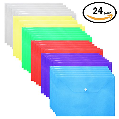 Plastic Envelopes Poly Envelopes - 24 Pack Poly Folders With Snap Button Closure Plastic Folders Premium Quality Document Folder A4 Size 6 Assorted Colors Button Closure Poly Envelope