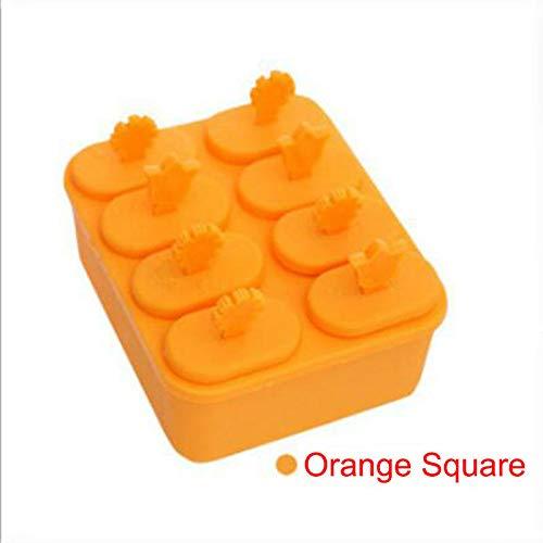 FidgetKute Pop Popsicle Mould Tool DIY Freezer Cream Juice Maker Ice Lolly Mold Icebox Orange Square One Size