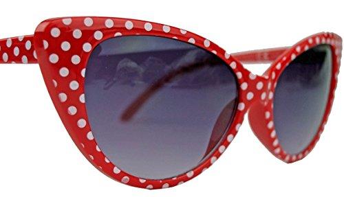 50er 60er Jahre Damen Retro Sonnenbrille Cat Eye Katzenaugen Rockabilly Modell FARBWAHL KE (Red Polka Dots)