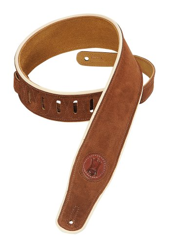 Levy's Leathers MSS3CP-BRN Suede-Leather Guitar Strap with Cream Piping,Brown