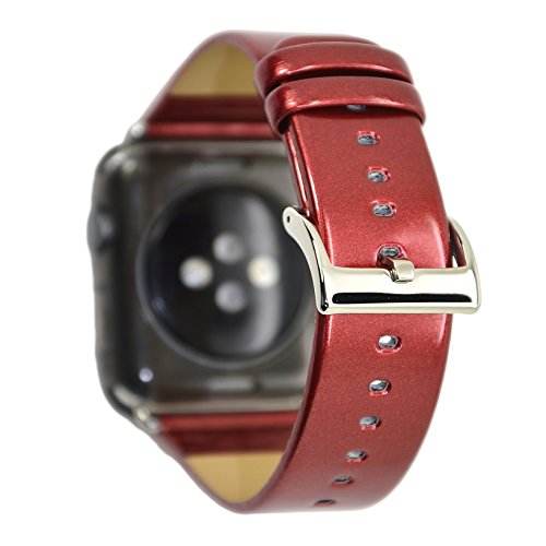 Men Women Leather Bands for Apple Watch, CRAZY PANDA New Luxury Glossy Shiny Patent Leather Replacement Strap Bands for Apple Watch 3/2/1, Sports & Edition 42mm - Red