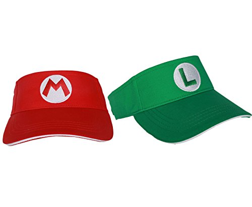 Xcoser Super Mario Tennis Hat Mario Luigi Red & Green ()