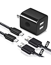 LEEKOTECH Android Charger Micro USB Cable, [2 Pack,6FT] Braided Micro USB Fast Charging Cord with Dual USB Wall Charger Compatible Samsung Galaxy S7 S6 Edge J7 J5, LG G4 G3, Moto G5, PS4, Kindle More