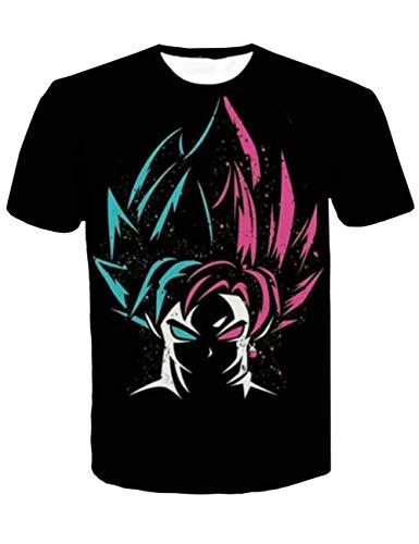 Dragon Ball Cap - Detroital Unisex Dragon Ball Z Goku T-Shirt 3D Graphic Printed Anime Short Sleeve Tee(XL Black)