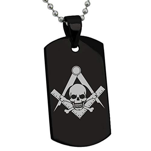 Stainless Steel Freemasons Freemasonry Masonic Skull Gifts for Kids Parent Friend Son Daughter Pendant Dog Tags Men Women Necklace 24