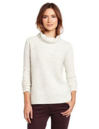 Rebecca Taylor Women's Two Tone Turtleneck Sweater, Ivory Combo, Small