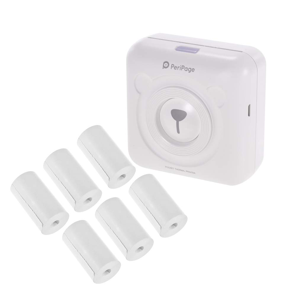 Aibecy PeriPage Mini Pocket Inalámbrico BT Impresora térmica Etiqueta de Imagen Memo Recibo Papel Impresora + 6 Rollos Recibo térmico Papel Rollo 57 * ...
