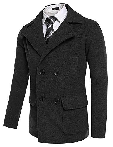 Windbreaker Schwarz Breasted Men's Elegant Apparel Jacket College Long Slim Coat Coat Winter Sleeve Trench Fit Vintage Jacket Huixin Wool Coat Double IHRqwCR
