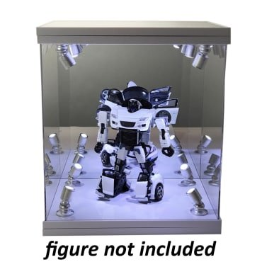 ELITE E-02 GLOSS WHITE 8 LED LIGHTED FIGURE STATUE DOLL DISPLAY CASE FOR MOST FIGURES UP TO 11
