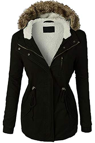 FASHION BOOMY Womens Zip Up Military Anorak Jacket W/Hood (Large, S-Black)