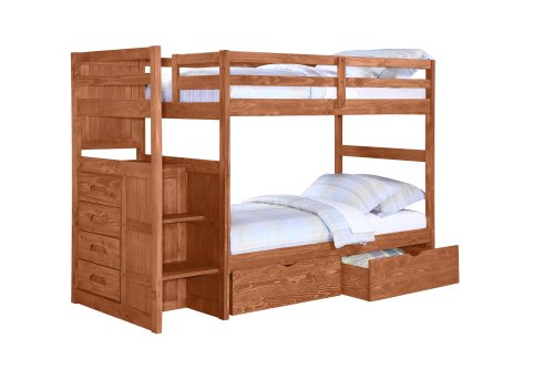 Cheap Ranch Stairway Bunk Bed with Free Under-Bed Drawers