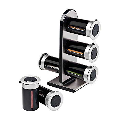 - Zevro KCH-06095 Zero Gravity Countertop Magnetic Spice Rack with Canister, Black/Silver - Set of 6