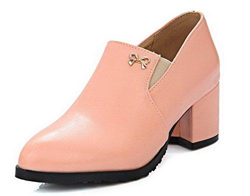 VogueZone009 Damen PU Leder Mittler Absatz Spitz Zehe Rein Elastic Band Pumps Schuhe Pink