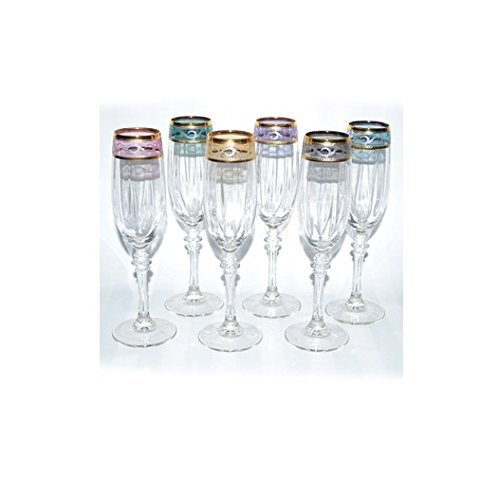 Italian Hand Painted 9 inches Flute Champagne Glass With 14K Gold Rim With 6-piece Multicolor set of 6. GS1506-ITE by ThreeStar by ThreeStar