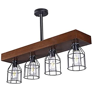 Wellmet Wood Farmhouse Kitchen Island Lighting with Metal