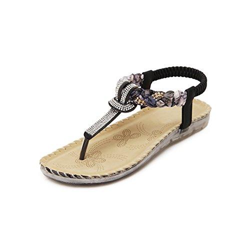 OCHENTA Zapatos de la playa simples sandalias planas Negro