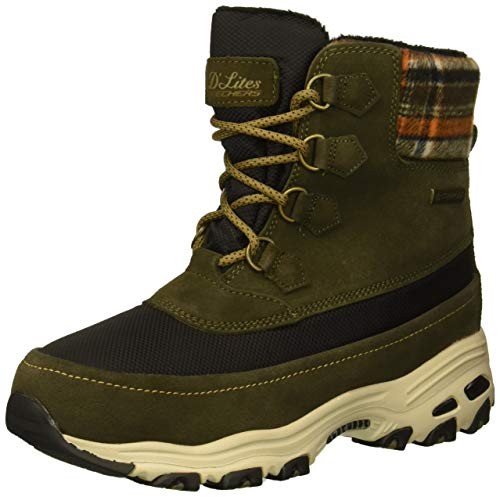 Skechers Women's D'Lites-Mid Hiker Lace up Boot w Plaid Collar Snow, Olive, 9 M US