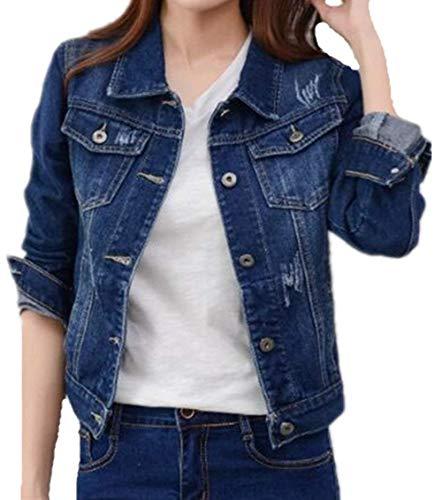 Scuro Jacket Bavero Casual Semplice Blu Fit Giubbino Autunno Moda Eleganti Denim Lunga Donna Glamorous Corto Cappotto Outwear Jeans Manica Di Primaverile Vintage Slim wwOBZY