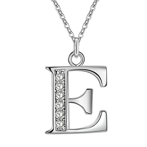 (JewelBeauty Cubic Zirconia Small 26 Letters Alphabet Personalized Charm Pendant Necklace for Men & Women Silver Tone (E))