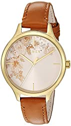 Crystal Bloom Tan Floral Accent Leather Strap Watch
