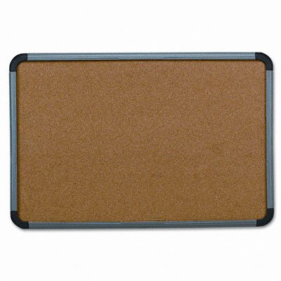 """Iceberg ICE35047 Ingenuity Cork Bulletin Communication Board with 1-Piece Dent/Scratch Resistant Frame, 48"""" Length x 1"""" Width x 36"""" Height, Charcoal"""