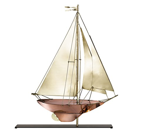 (Good Directions Racing Sloop Copper & Brass Table Top Sculpture - Nautical Home Decor)