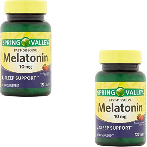 Spring Fast - Spring Valley Fast-Dissolve Melatonin, 10 Mg, 120 Tablets by Spring Valley (2 Pack)
