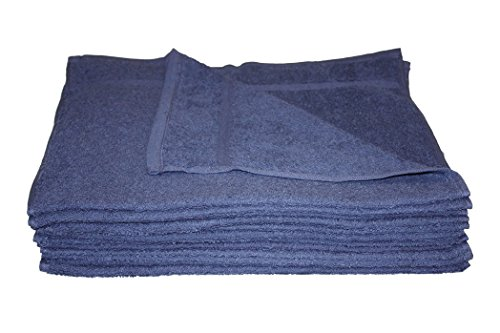 100% Cotton Salon Hand Towels, Ring Spun NAVY BLUE 16 x27, 6