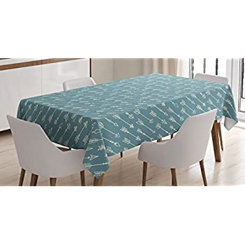 Arrow Decor Tablecloth by Ambesonne, Cute Ethnic Retro Style Arrows Illustration in Vintage Colors Tribal Aztec Elements Print, Rectangular Table Cover for Dining Room Kitchen, 52x70 Inch, Blue Beige