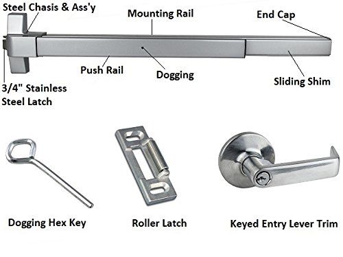 Door Exit Devices - Push Bar Panic Exit Device, (UL listed) with Exterior Lever