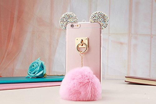 iPhone SE Case,iPhone 5/5S Case,Blixy Trendy Bling Crystal Mouse Ear Plush Ball Soft Fluffy Fur Ball Nice Touching Feeling Clear Fit Case For Iphone SE/5/5S