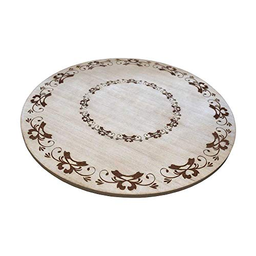 gbHome GH-6748 Premium Engraved Wood Tabletop Lazy Susan, 18 x 18 x 1