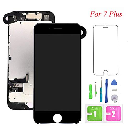 Lcd Screen Replacement Camera (Screen Replacement for iPhone 7 Plus, LCD Display and Touch Screen Digitizer Replacement Full Assembly with Proximity Sensor+Ear Speaker+Front Camera+Screen Protector and Repair Tools (White,5.5))