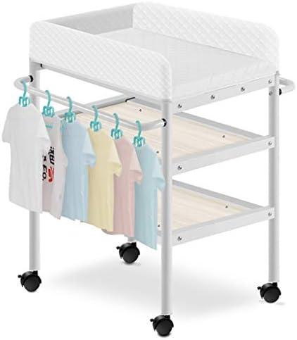 おむつ 交換台 車輪の上の赤ちゃんのおむつ交換台、保育園の女の子男の子乳児マッサージドレッサーバスタブステーション付き収納、0-3歳、白、荷重80kg (Size : B)
