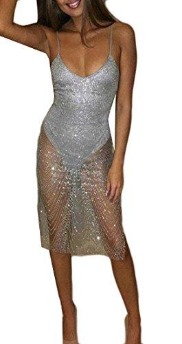 Strap Grey Women Jaycargogo Sequin Bodycon Neck Club V Sexy Spaghetti Dresses wYHSqxrvHd