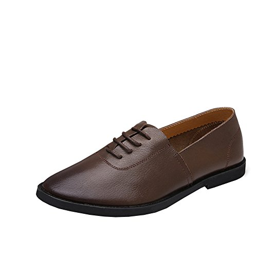 Lisianthus Mens Körning Mörkbruna Platt Läder Loafers Mörkbrun