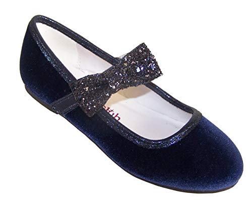 Sparkle Club Girls' Kids Navy Deep Blue Velvet Special Occasion Party Ballerina Shoes