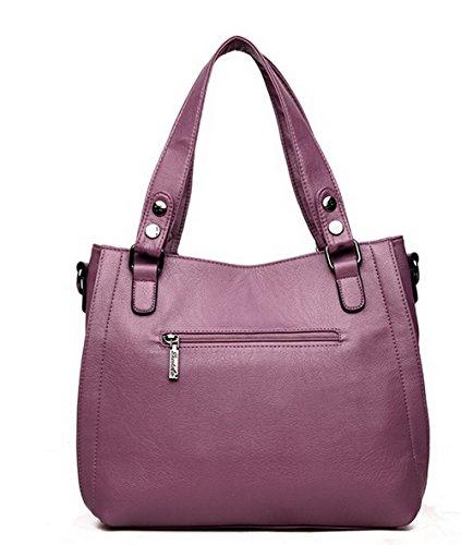 ROFBL180889 fourre bandoulière Mode Sacs Sacs Pu Odomolor Vineux Cuir Violet à Zippers tout Femme Rouge XZEPt