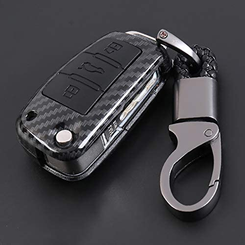 ontto for Audi Carbon Fiber Texture Key Case Cover Key Ring Remote Protective Case Shell Prevent Falling and Scratch Hight Quality and Fashionable ABS + Natural Rubber (Black)