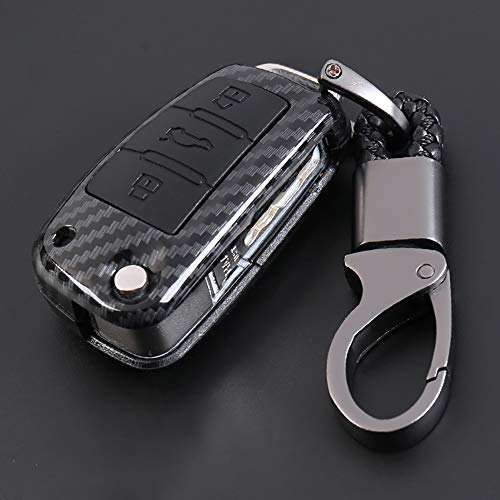ontto for Audi Carbon Fiber Texture Key Case Cover Key Chain Key Ring Remote Key Protective Case Shell Prevent Falling and Scratch Hight Quality and Fashionable ABS + Natural Rubber (Black)