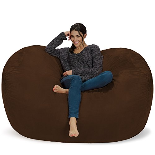 Chill Sack Bean Bag Chair: Huge 6' Memory Foam Furniture Bag and Large Lounger - Big Sofa with Soft Micro Fiber Cover - Chocolate (Oversized Beanbags)