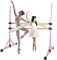 ZELUS Portable Ballet Barre Wood Bar for Home Kids, Ballet Bar 5ft Adjustable Freestanding Double Stretching D